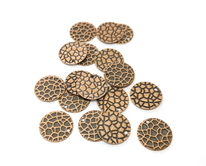 20 Copper Charms Antique Copper Plated Charms (16mm)  G18748