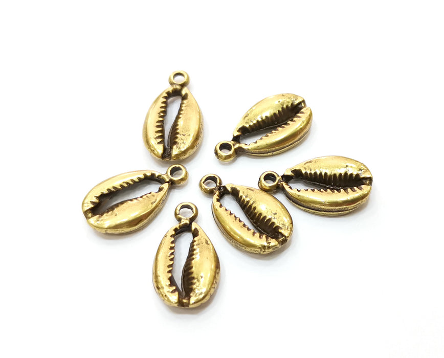 10 Cowrie Shell Charms Antique Bronze Charms Antique Bronze Plated Charm (18x10mm) G18796