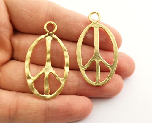 2 Peace Charms Gold Plated Charms (46x26mm)  G20299