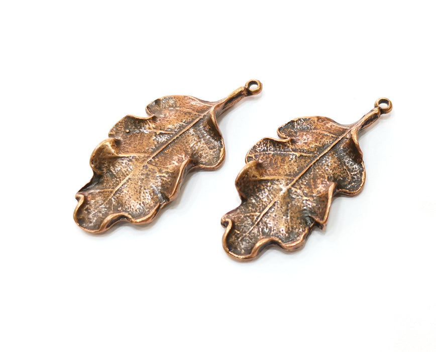 2 Copper Leaf Charms Antique Copper Plated Charms (46x22mm) G18394