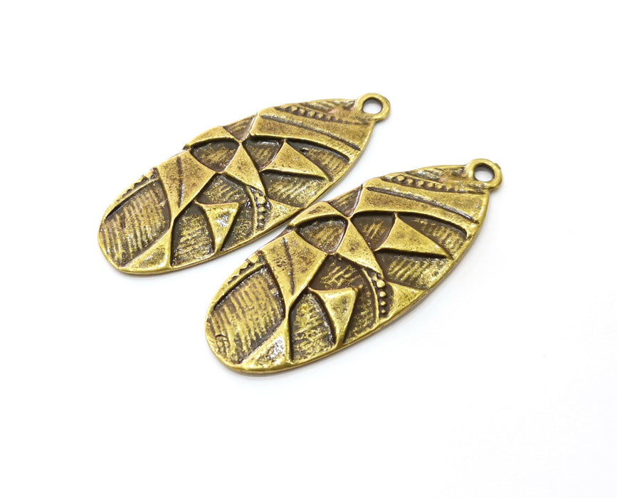 2 Antique Bronze Charms Antique Bronze Plated Charms (56x22mm)  G18921