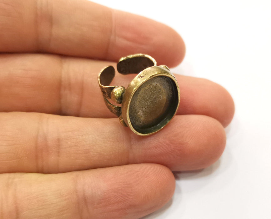 Ring Setting Resin Ring Blank Cabochon Base inlay Ring Mounting Adjustable Ring Bezel (18x15mm) Antique Bronze Plated Brass  G18941