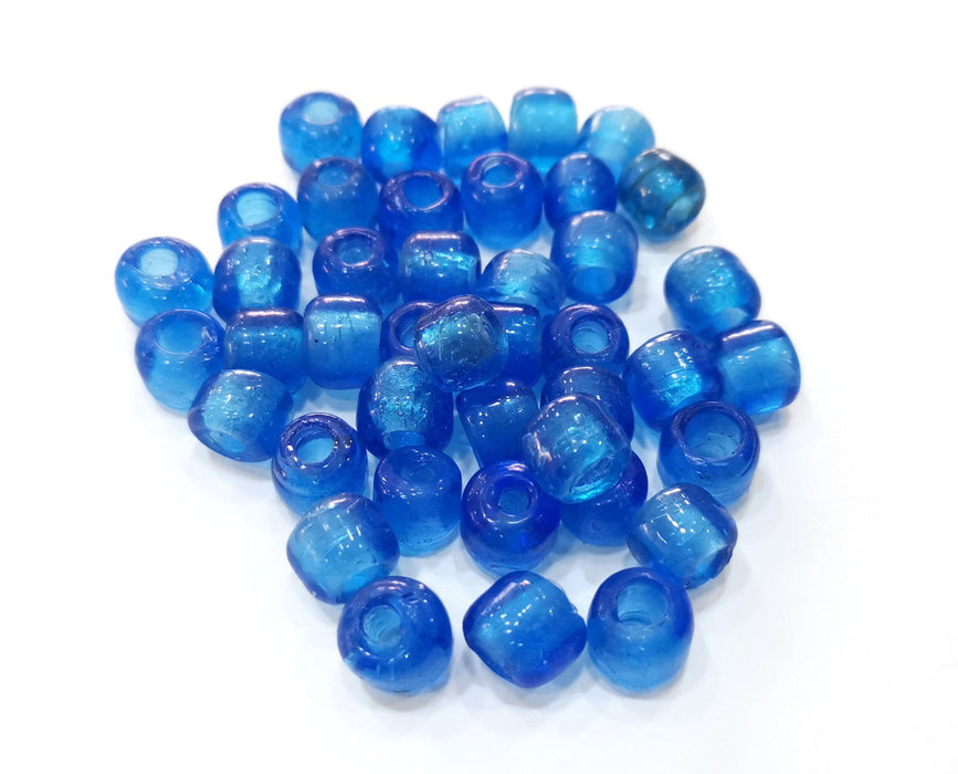 10 Cylinder Sea Blue Glass Beads 10 mm (3.8mm beads inner size) G19023