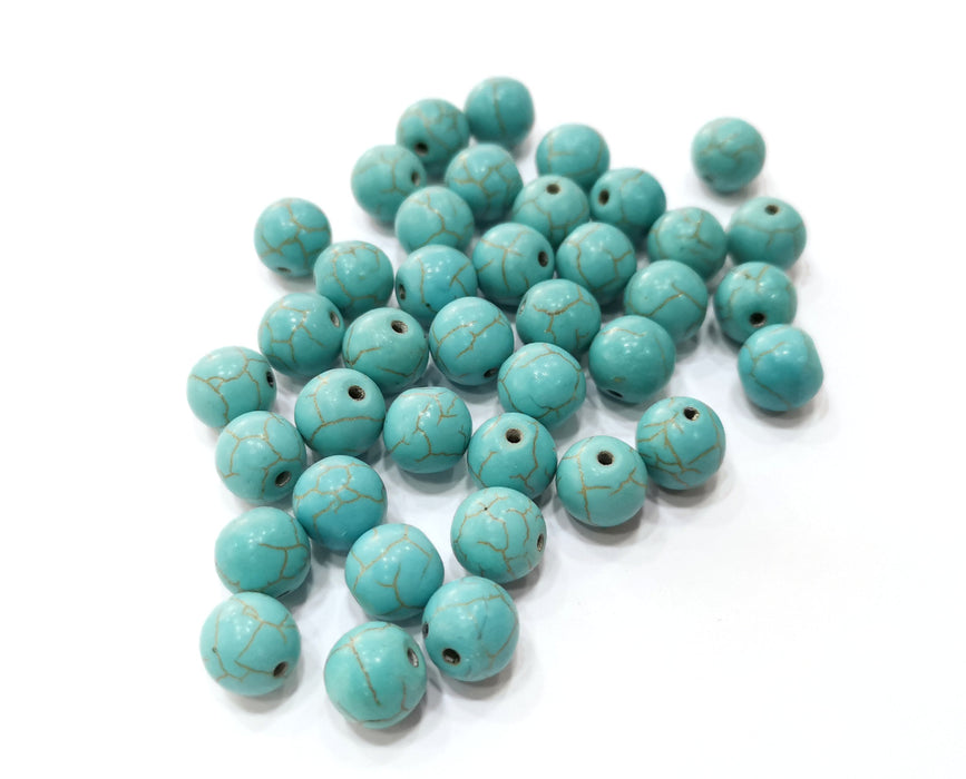 30 Round Veined Turquoise Synthetic Beads 10 mm (1mm hole) G19049
