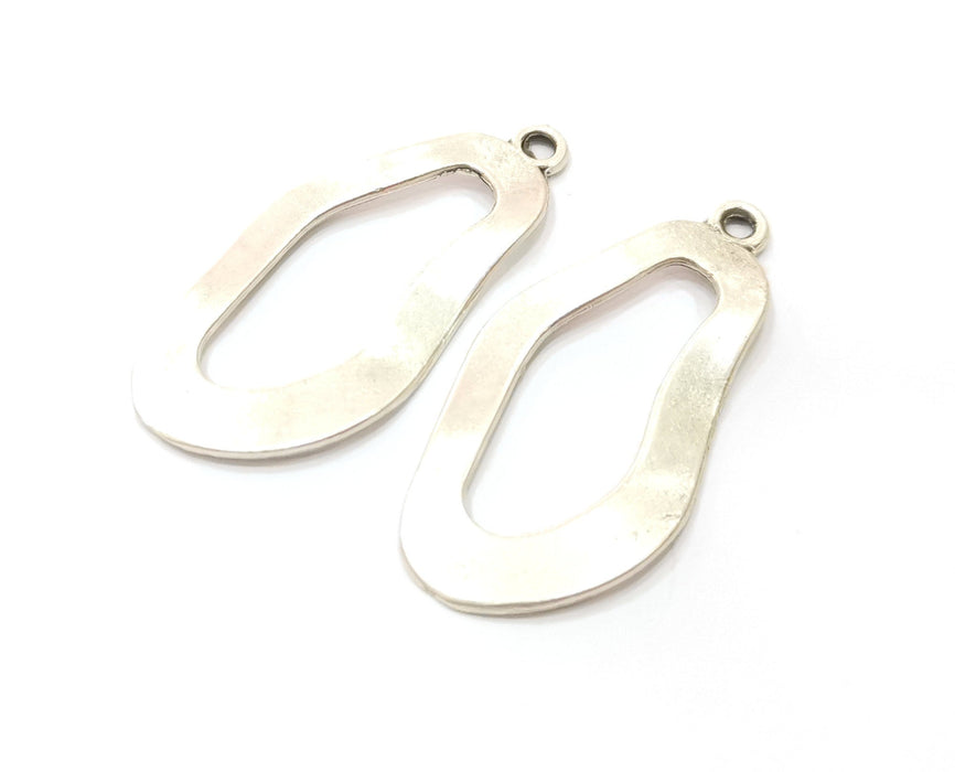 2 Silver Wavy Oval Charms Antique Silver Plated Charms (44x22mm)  G19078