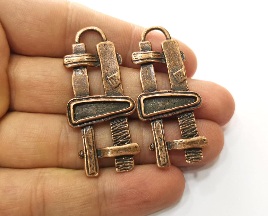 2 Copper Charms Antique Copper Plated Charms (50x22mm) G18513