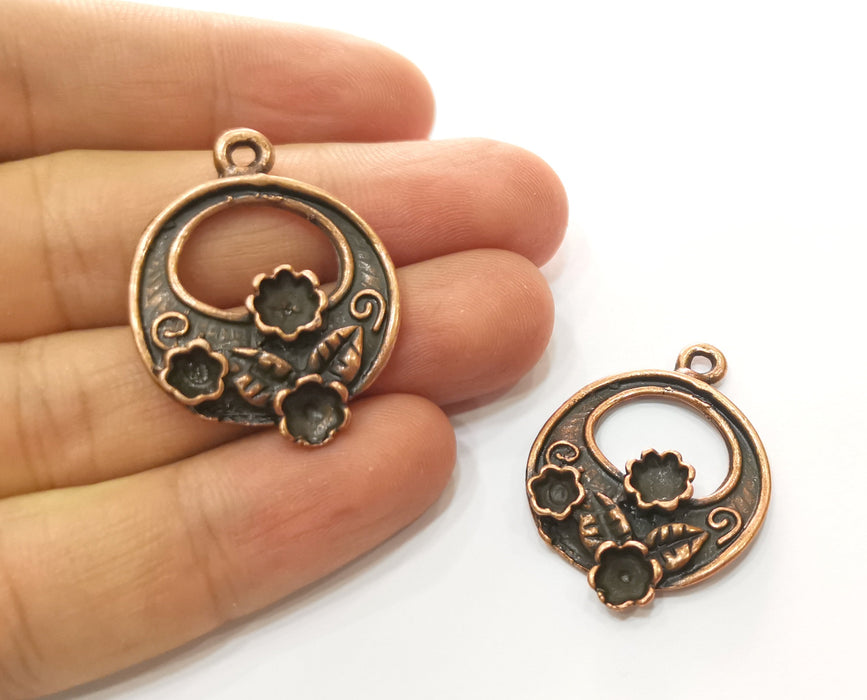 2 Copper Flower and Leaf Charms Antique Copper Plated Charms (35x27mm)  G18516