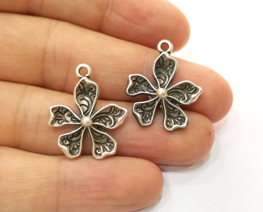 5 Silver Flower Charms Antique Silver Plated Charms (26x21mm) G19139