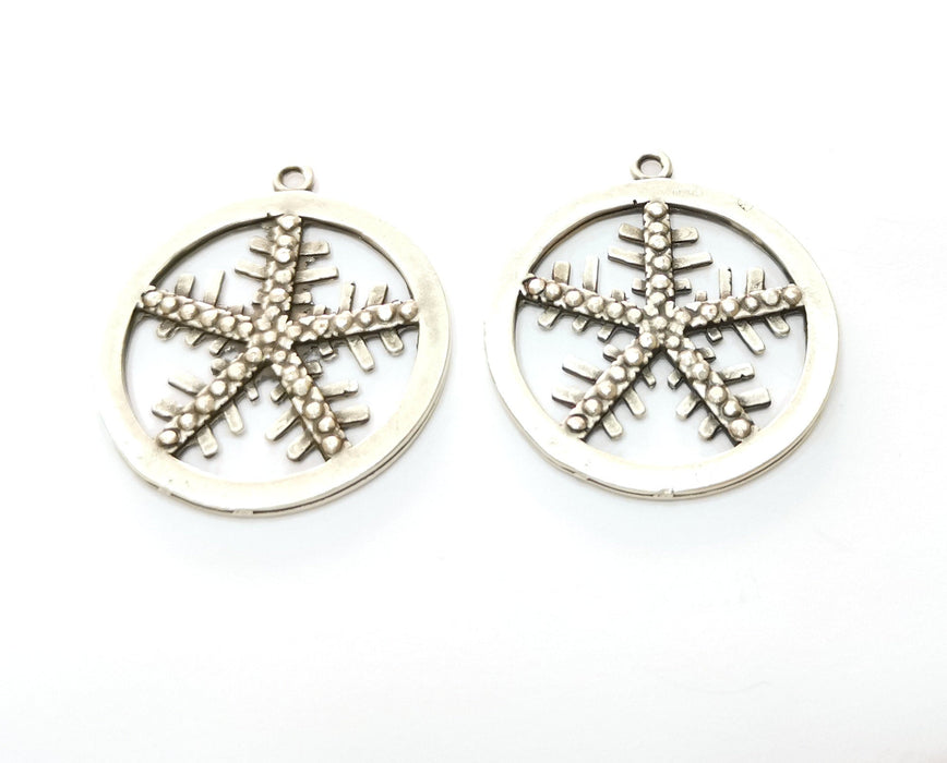 2 Snow Flake Charms Antique Silver Plated Charms (36x32mm)  G19142