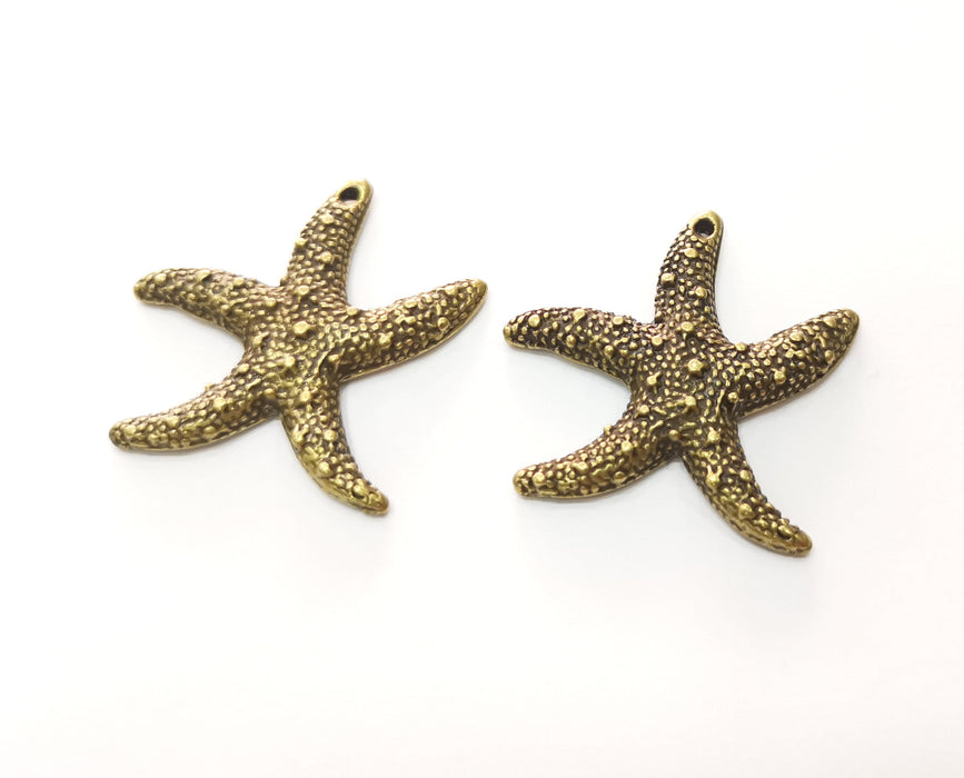 2 Starfish Charms Antique Bronze Plated Charms (37x35mm)  G18534