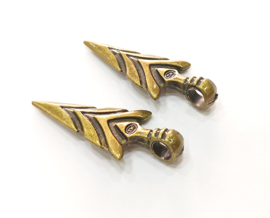 2 Antique Bronze Arrowhead Charms Antique Bronze Plated Charms (47x20mm) G18541