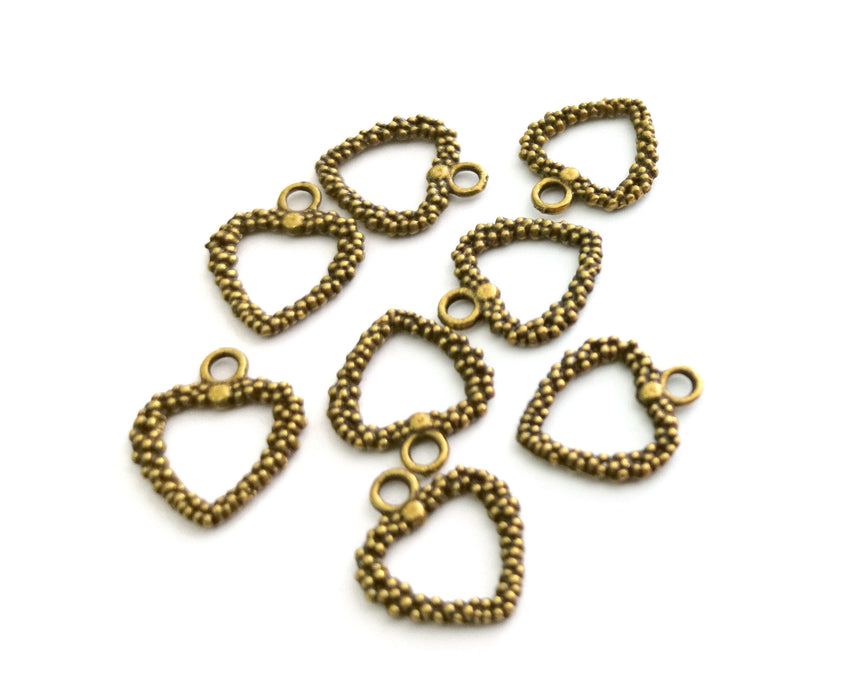 10 Heart Charms Antique Bronze Plated Charms  (19x16mm)  G18552