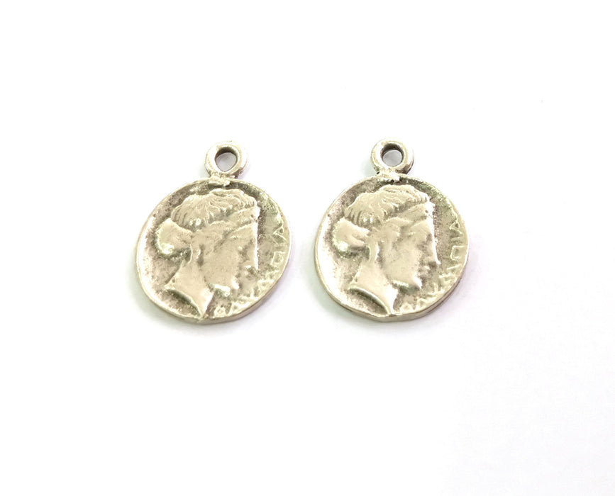 4 Coin Charms Antique Silver Plated Charms  (22x17 mm)  G18596