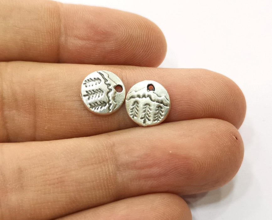 20 Pine Tree Charms Antique Silver Plated Charm (10mm) G19188