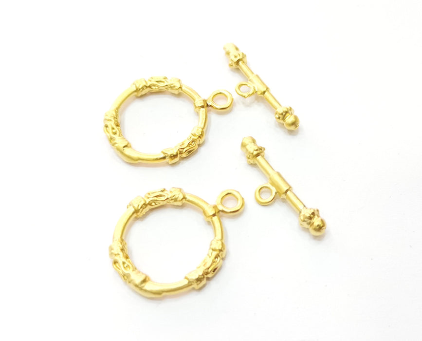 Toggle Clasps 2 sets Gold Plated Toggle Clasp Findings 25x20mm+25x7mm  G19189