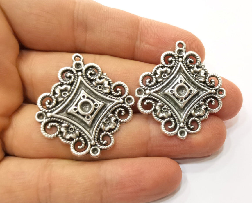 2 Filigree Charms Antique Silver Plated Charm (36x33mm) G19206
