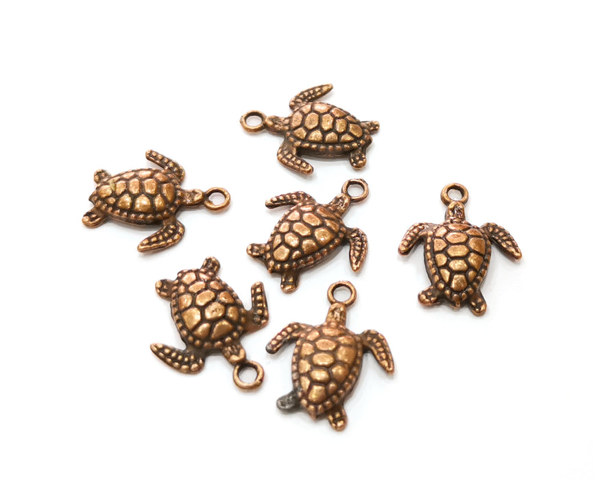 10 Sea Turtle Charms Antique Copper Plated Charms (17x14mm)  G19218