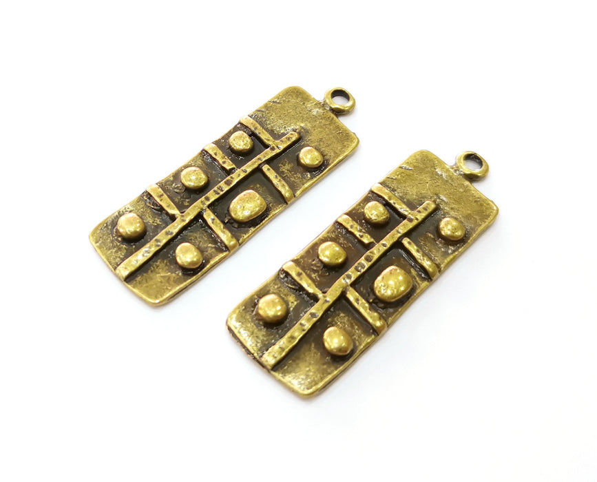 2 Antique Bronze Charms Antique Bronze Plated Charms (48x16mm)  G19243