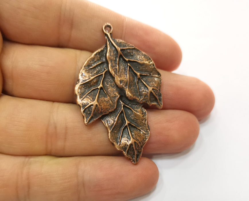 2 Leaf Charms Antique Copper Plated Charms (51x32mm) G18681