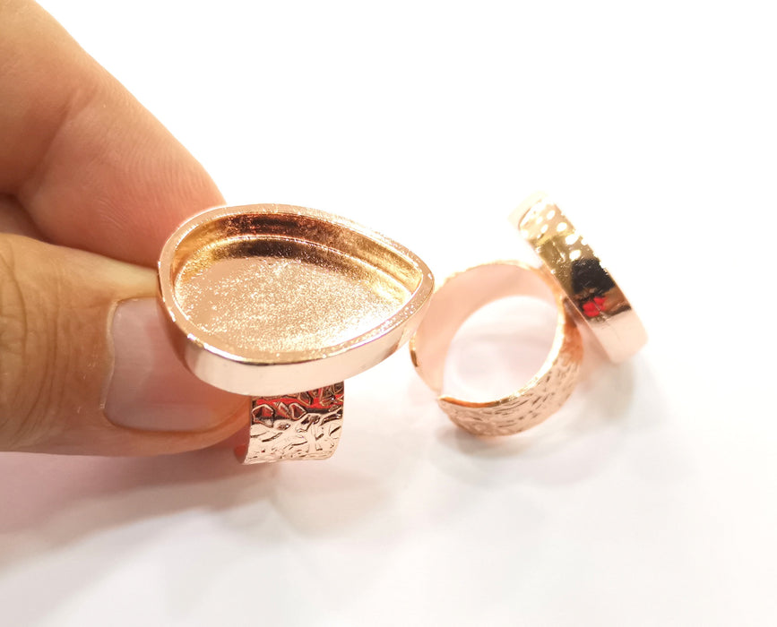 Rose Gold Ring Blank Base Bezel Settings Rose Gold Cabochon Base Mountings Adjustable Resin Ring (25x18mm Blank)  G18699