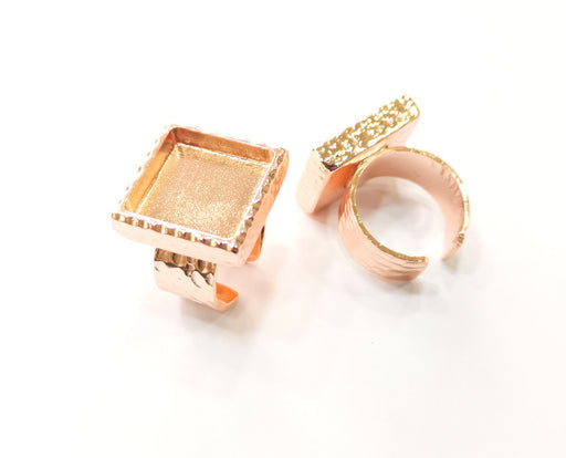 Rose Gold Ring Blank Base Bezel Settings Rose Gold Cabochon Base Mountings Adjustable Resin Ring (16x16mm Blank)  G18701