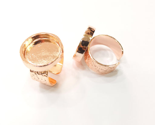 Rose Gold Ring Blank Base Bezel Settings Rose Gold Cabochon Base Mountings Adjustable Resin Ring (18mm Blank)  G18700