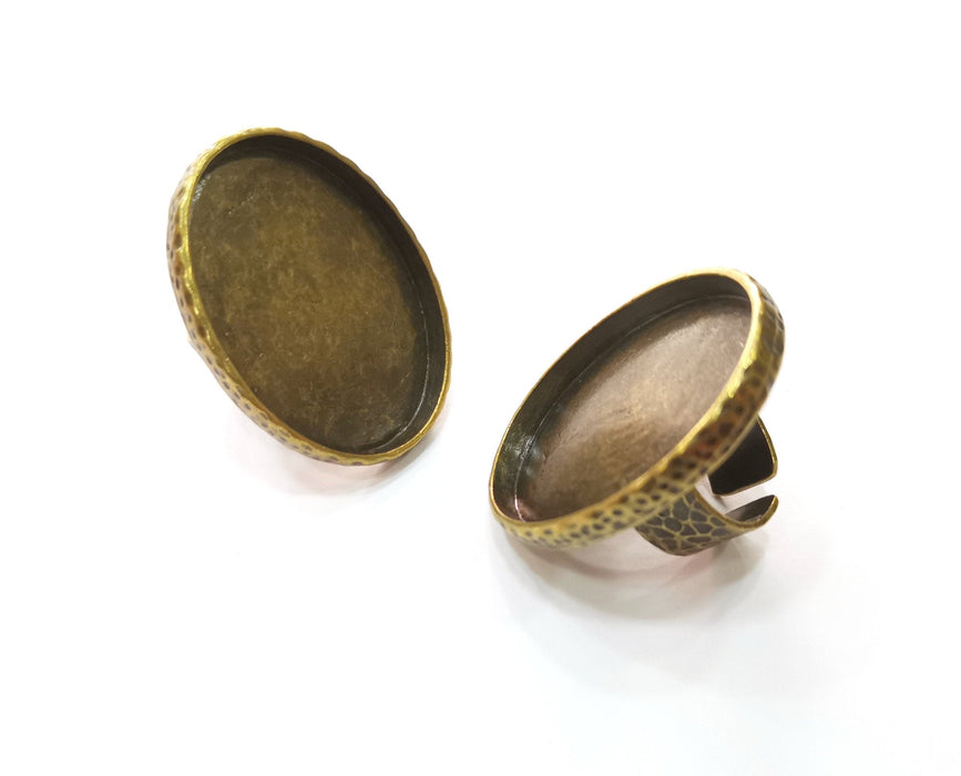Ring Blank Setting Hammered Ring Base Bezel inlay Ring Backs Glass Cabochon Mounting Adjustable Antique Bronze Plated Ring (40x30mm ) G19270