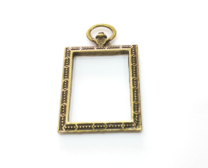 2 Antique Bronze Frame Charms Antique Bronze Plated Charms (52x30mm) G19274