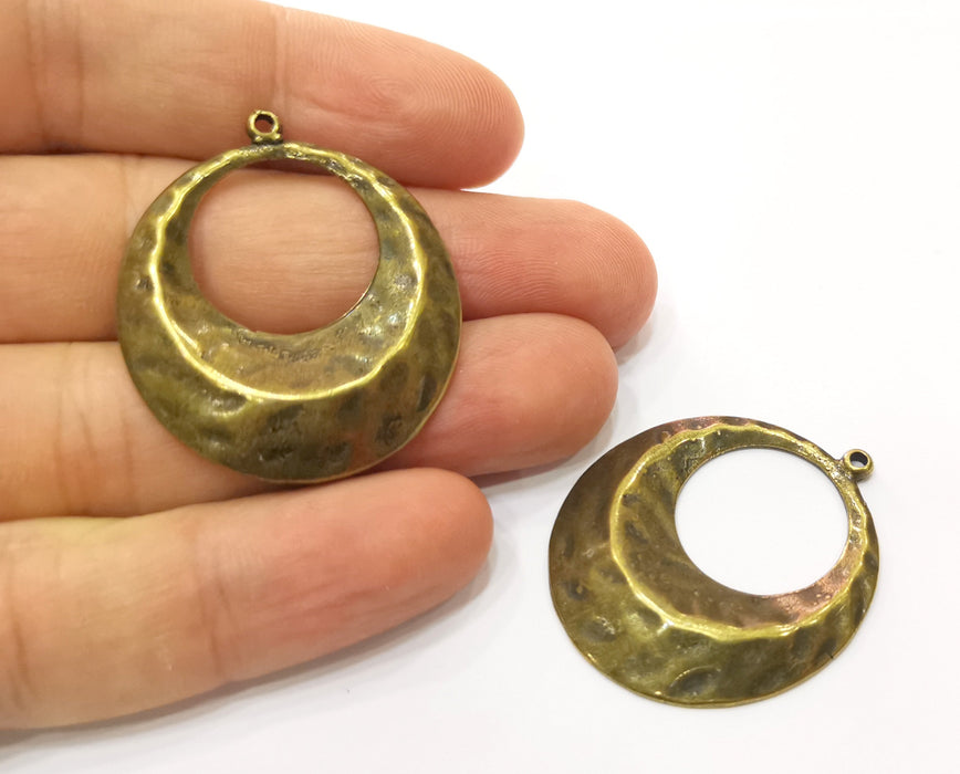 2 Hammered Charms Antique Bronze Plated Charms (39x33mm)  G19294