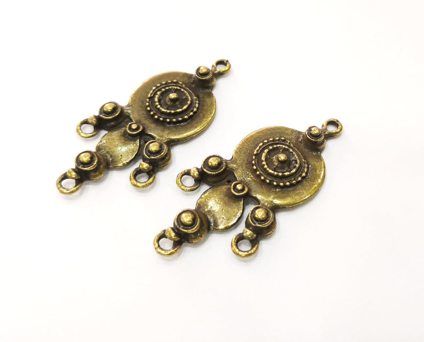 2 Antique Bronze Charm Connector Antique Bronze Plated Charm (54x26mm) G19296
