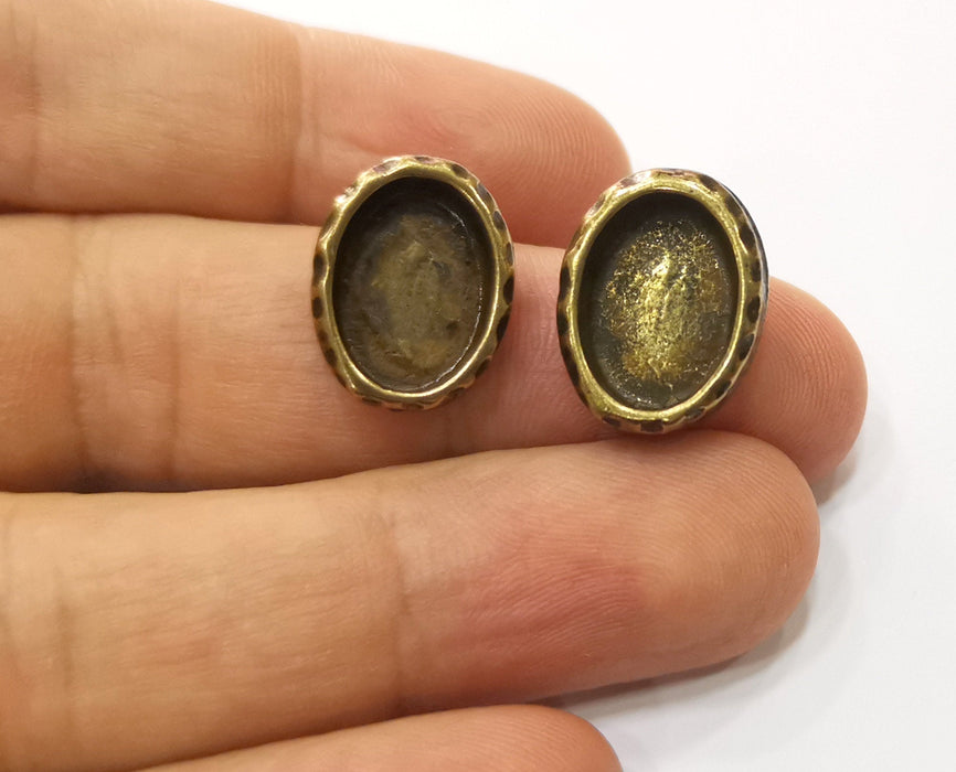 Earring Blank Backs Hammered Antique Bronze Resin Base inlay Blank Cabochon Mountings Antique Bronze (14+10mm Oval blanks) 1 pair G19312
