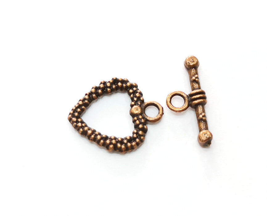 Heart Toggle Clasps 10 sets Antique Copper Plated Toggle Clasp Findings 19x16mm+19x8mm  G18733