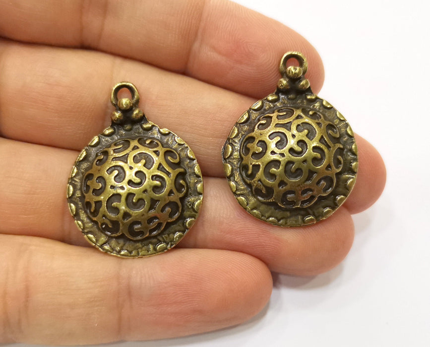 2 Antique Bronze Charms Antique Bronze Plated Charm (33x25mm) G19346