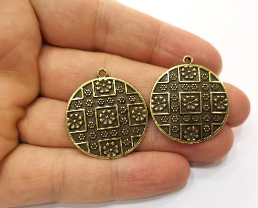 2 Antique Bronze Charms Antique Bronze Plated Charms (32x29mm) G18765