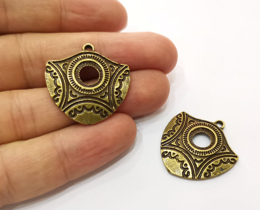 2 Antique Bronze Charms Antique Bronze Plated Charms (29x29mm)  G18768