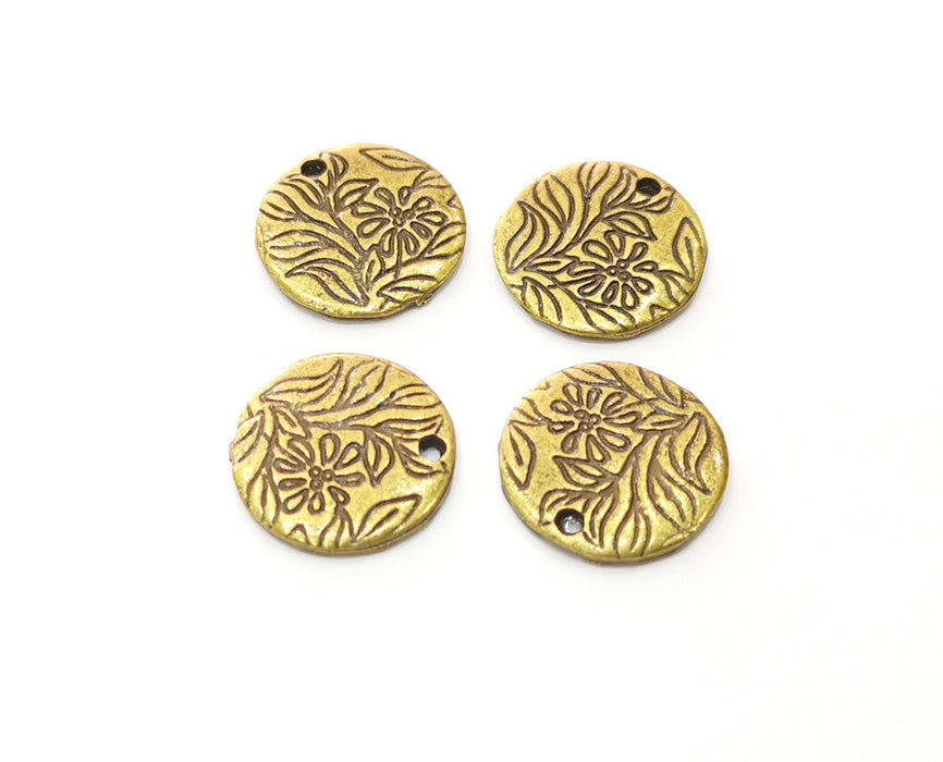10 Flower Charms Antique Bronze Plated Charms (15mm)  G18777