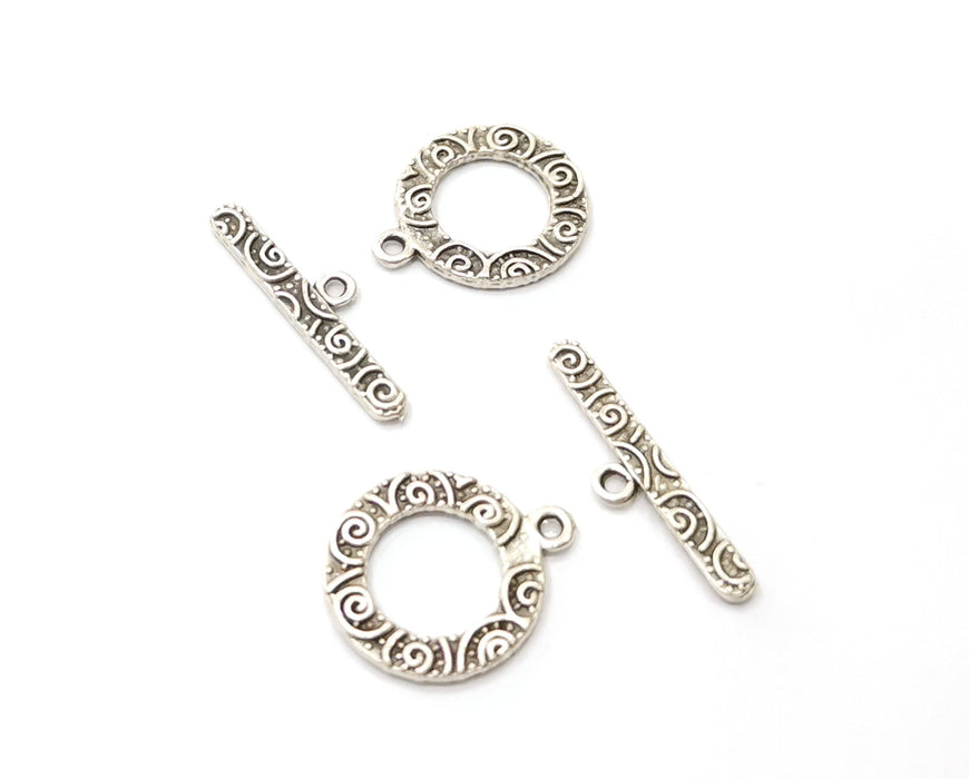 Toggle Clasps 5 sets Antique Silver Plated Toggle Clasp Findings 19x15mm+23x6mm  G19377