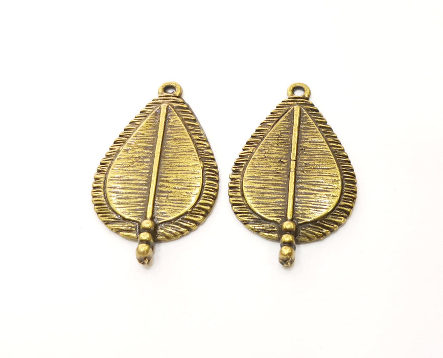 2 Antique Bronze Drop Charms Antique Bronze Plated Charms (38x22mm)  G18819