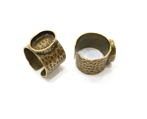 Antique Bronze Ring Blank Setting Cabochon Base inlay Ring Backs Mounting Adjustable Ring Bezel (14x10mm blank) Antique Bronze Plated G18842