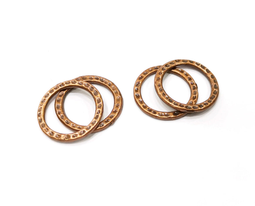 10 Circle Connector Antique Copper Plated Hammered Round Connector (20mm) G19409
