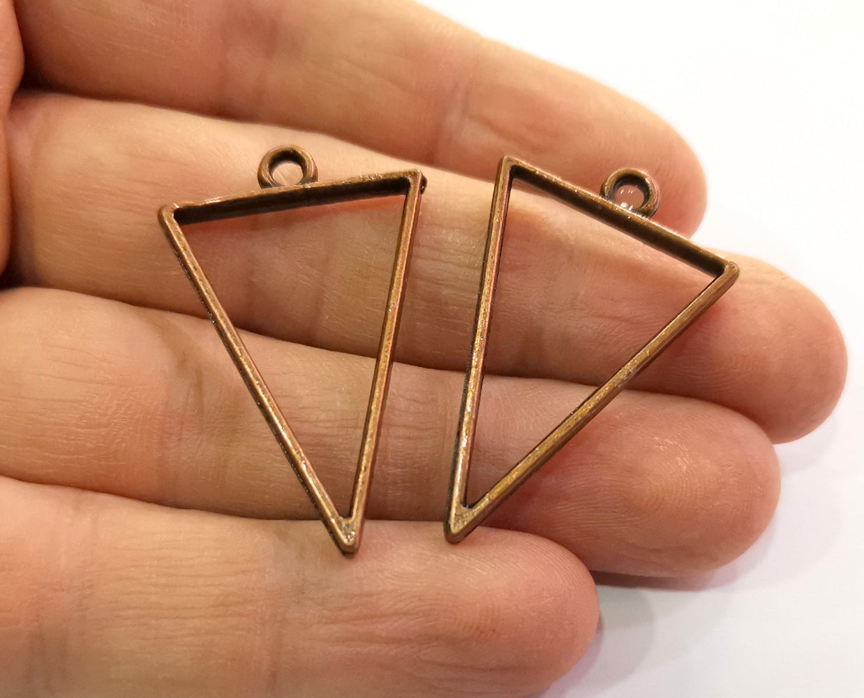 4 Triangle Bezel Charms Antique Copper Plated Charms (38x24mm) G19782