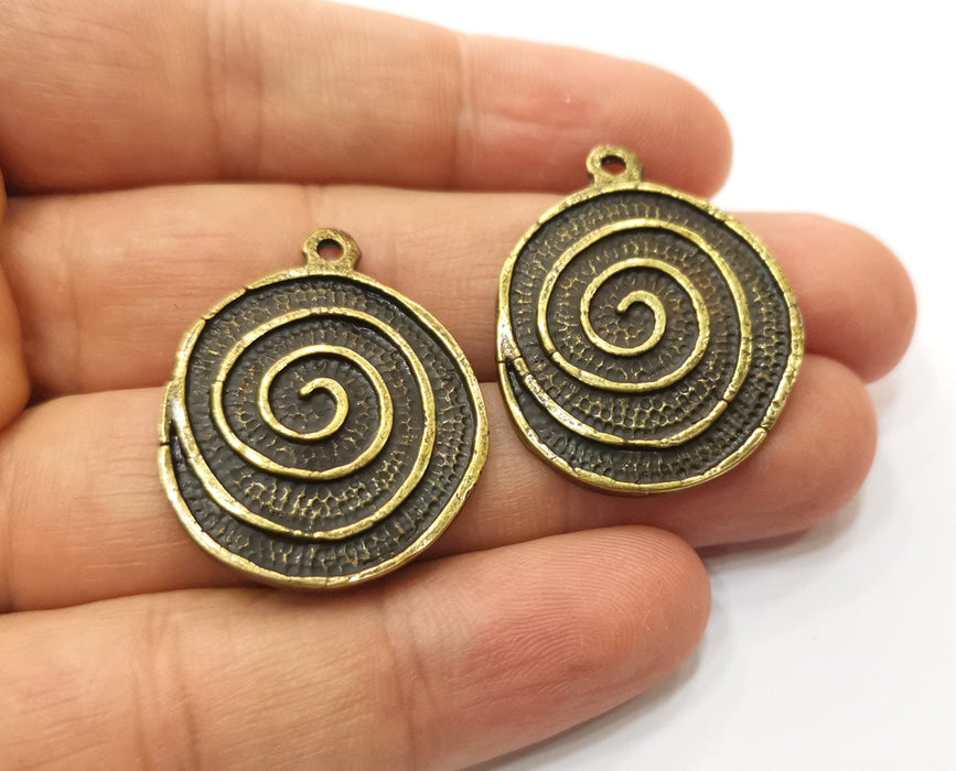 2 Antique Bronze Charms Antique Bronze Plated Charms (34x27mm)  G18931
