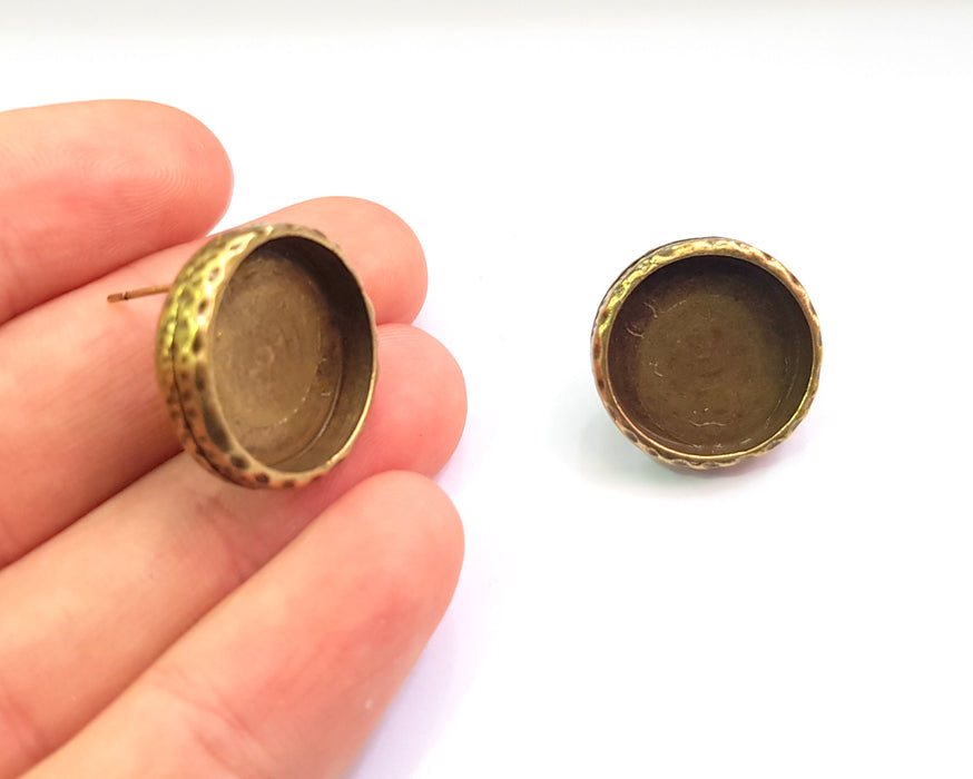 20 Pairs Earring Blank Backs Antique Bronze Resin Base inlay Blank Cabochon Setting Antique Bronze Plated Metal (18mm blank) 20 pairs G19475