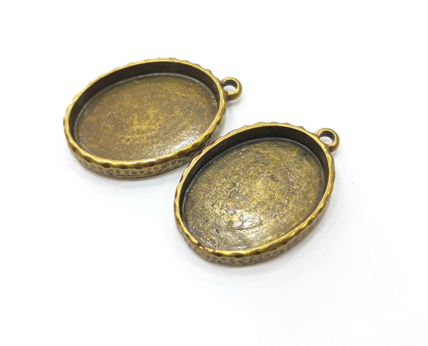 2 Antique Bronze Hammered Base Blank inlay Blank Pendant Base Resin Blank Mosaic Mountings Antique Bronze Plated (30x22mm blank )  G18954