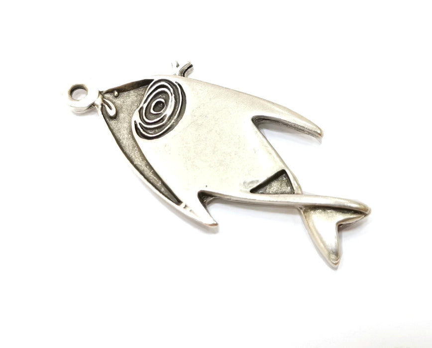 Silver Fish Charms Antique Silver Plated Charms (58x25mm)  G19107