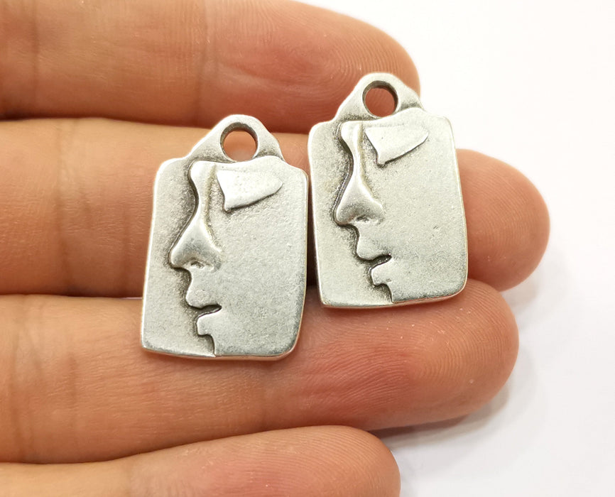 2 Silver Face Pendant Antique Silver Plated Pendant (27x17mm)  G19116