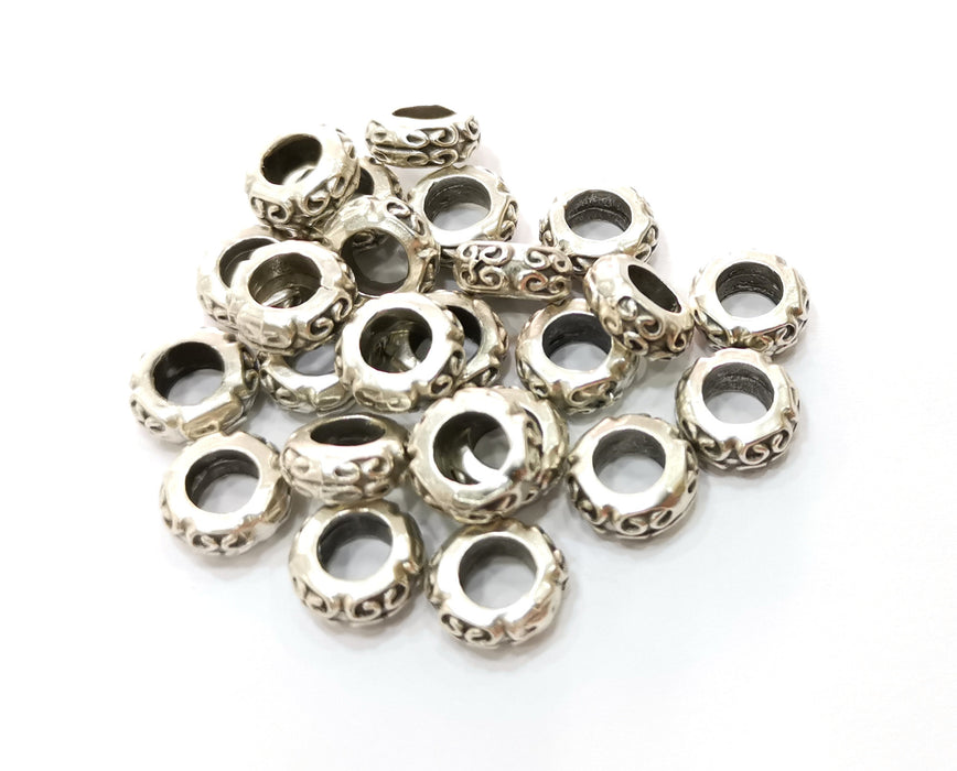 10 Silver Rondelle Beads Antique Silver Plated Beads (11mm)  G19150