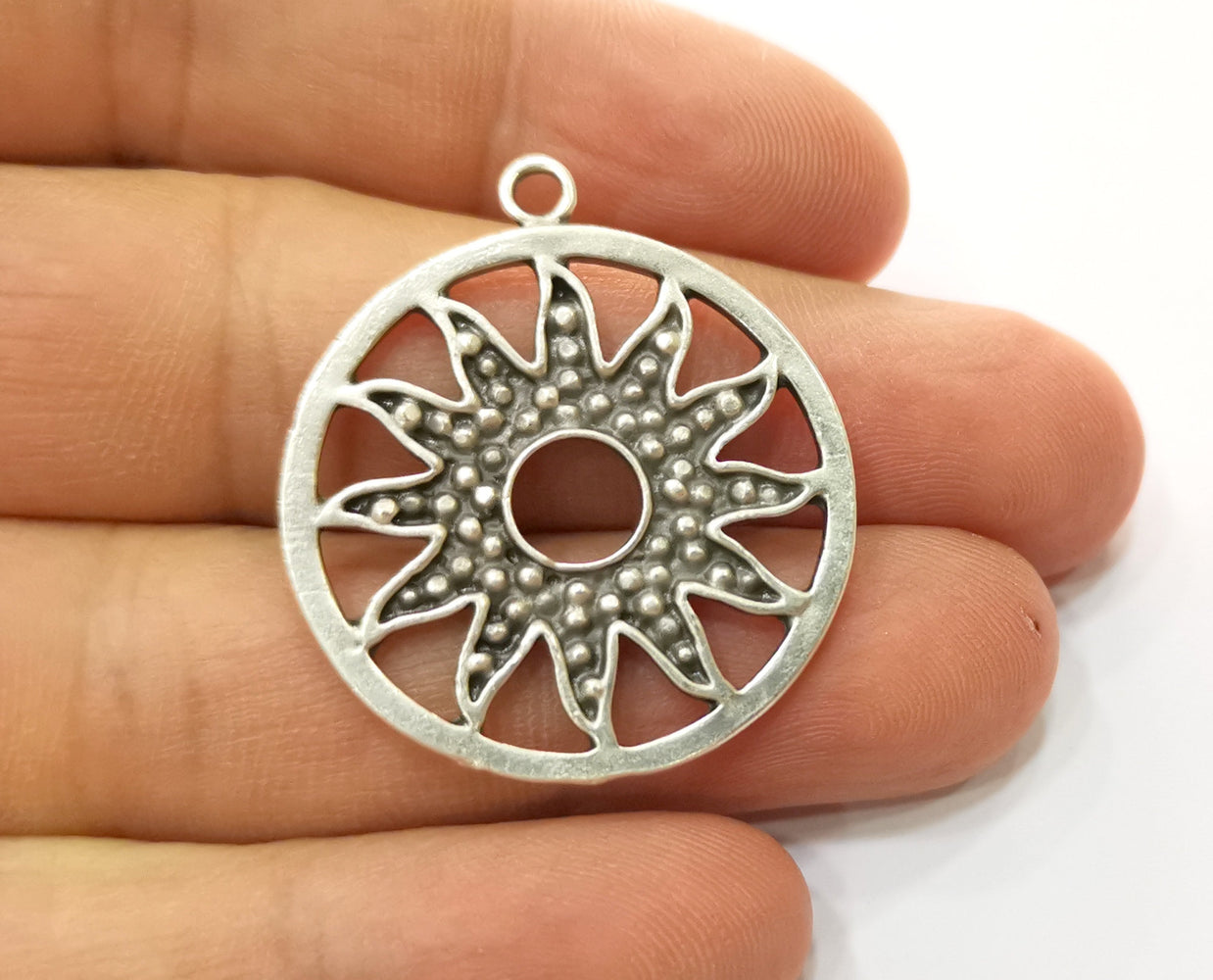 2 Silver Sun Charms Antique Silver Plated Charms (36x32mm)  G19158