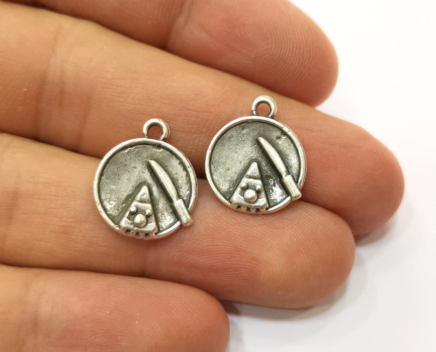 10 cake slice knife Charms Antique Silver Plated Charm (17x14mm) G19203