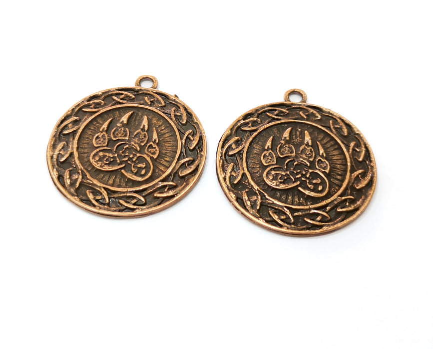 2 Claw Charms Antique Copper Plated Charms (37x34mm)  G19221